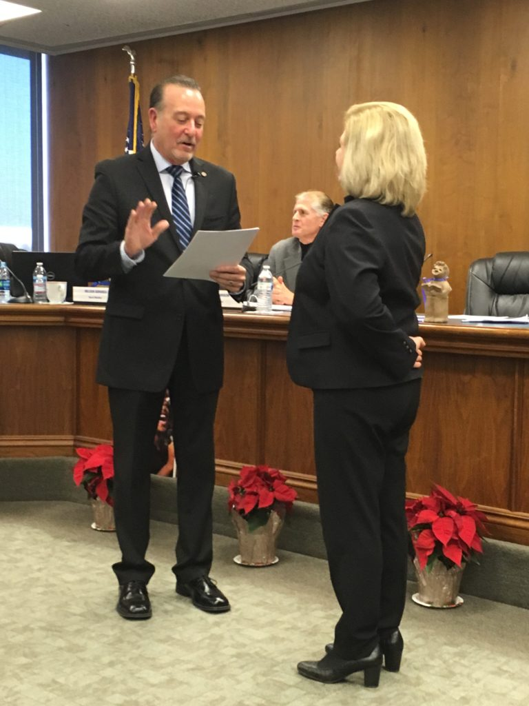 Dr. Marcy Masumoto administered oath of office by Superintendent Jim Yovino on December 13, 2018